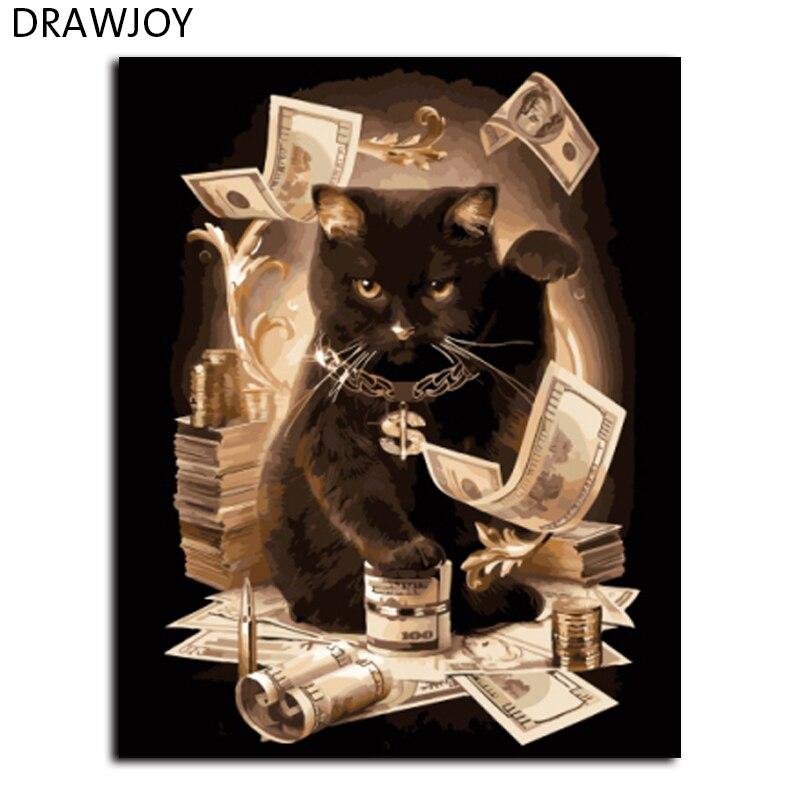 DRAWJOY Gatto di Casa Pittura By Numbers Di Gatti Incorniciato Tela FAI DA TE Pittura A Olio Frameless Home Decor Per Soggiorno GX8911