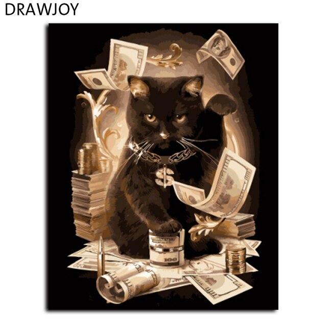 DRAWJOY Gatto di Casa Pittura By Numbers Di Gatti Incorniciato Tela FAI DA TE Pi