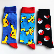 New Fashion Pokemon Ball Unisex Socks Cotton Woman Man Cartoon Socks Gifts Pikachu Jacquard Cartoon Prototype Men's Socks(China)