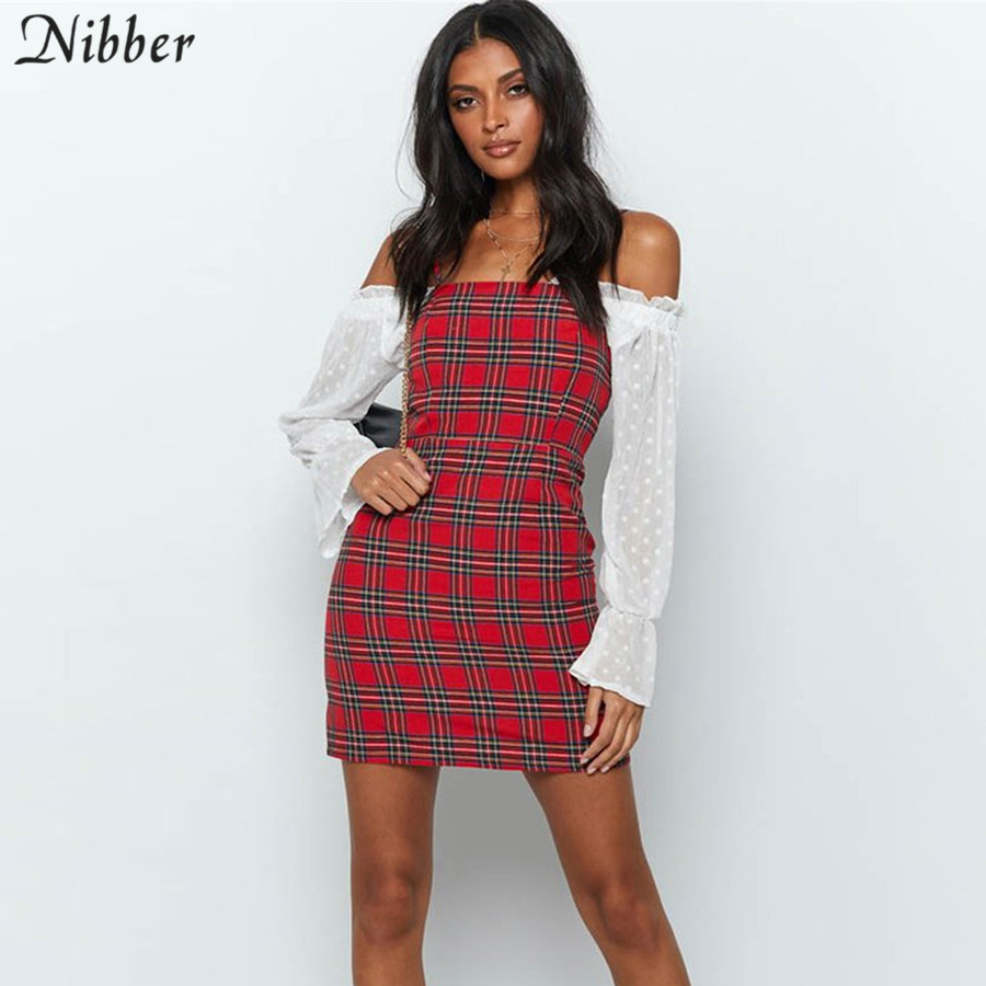 Nibber Retro Red Plaid Printing Bodycon Mini Dresses Women's 2019summer Wild Casual Party Dress Fashion Basic Ladies Short Dress