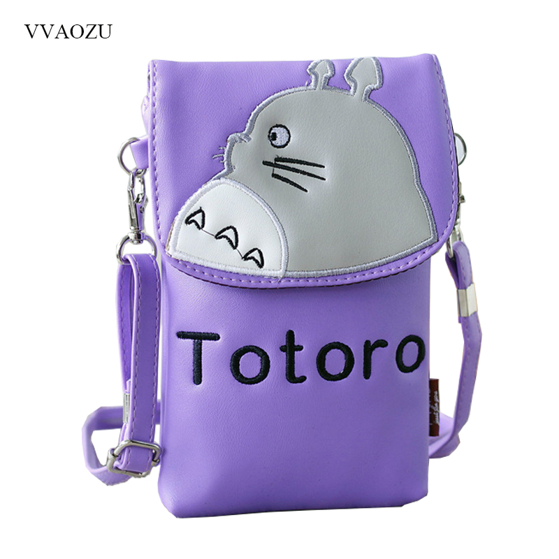Cartoon Totoro PU Leather Convenient Cell <font><b>Phone</b></font> Handbag <font><b>Phone</b></font> <font><b>Cases</b></font> Shoulder Pocket Wallet Pouch Bag <font><b>Neck</b></font> Strap For <font><b>Phones</b></font>