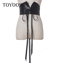 Fashion Woman Belts Elastic Wide Lace Bow Vintage Stretch Soft PU Leather All-match Black Cummerbunds High Quality Luxury Brand