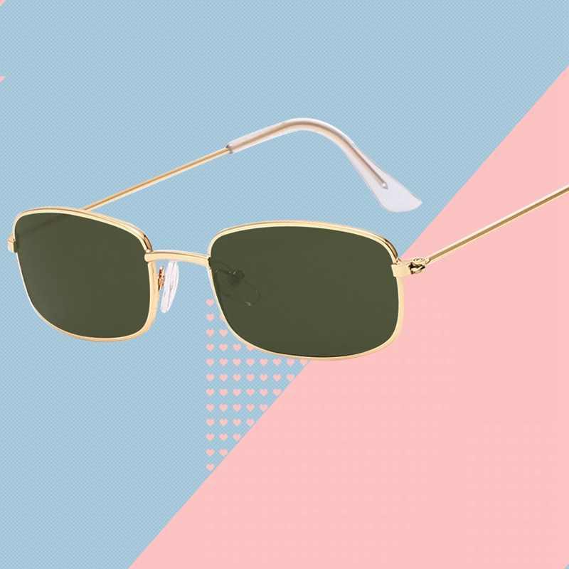 Новые женские металлические мужские солнцезащитные очки, Ретро стиль, маленькие квадратные солнцезащитные очки, женские желтые розовые линзы, очки с небольшой оправой, очки