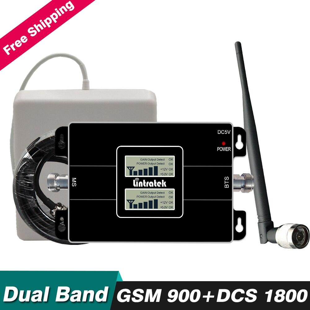 65dB Gain Dual Band Répéteur 2g GSM 900 4g DCS LTE 1800 mhz Téléphone portable Signal Booster Cellulaire amplificateur Ensemble avec Antenne Câble