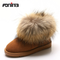 FONIRRA Cow Leather Big 100 Fox Fur Women Snow Boots Low Short Winter Ankle Boots Luxury