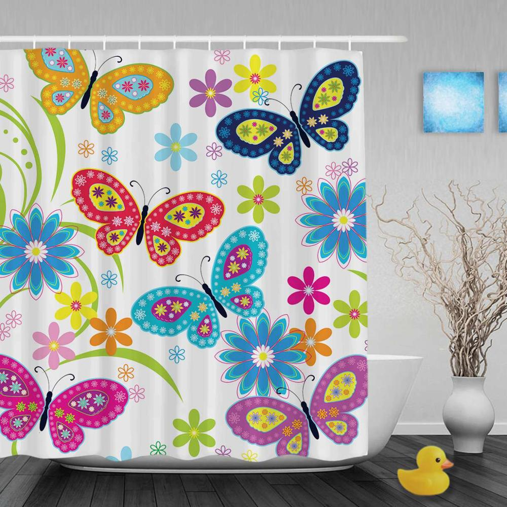 Colorful Shower Courtain Spring Flower Print Bathroom With Hooks Cover Courtain