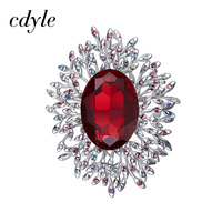 Cdyle Embellished with crystals from Swarovski Brooch For Women Fashion Jewelry Elegant Chic Blue Red Classic Round Luxury Lady
