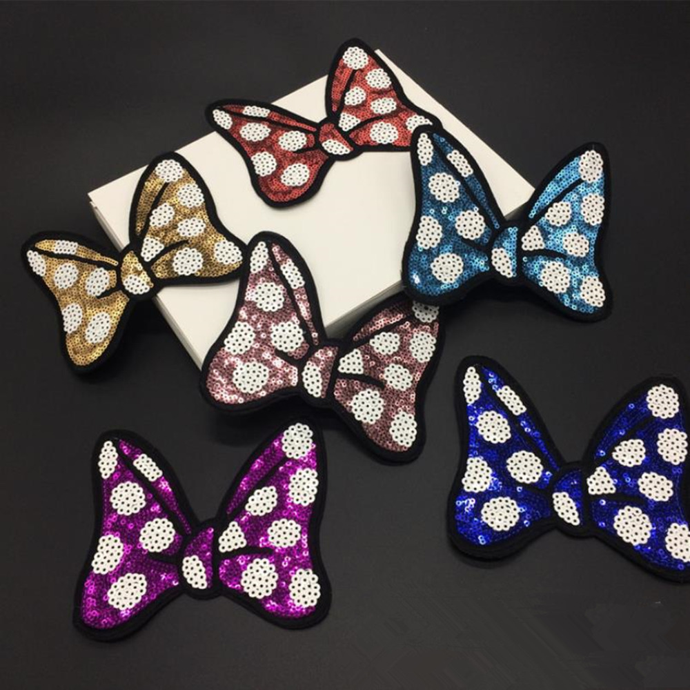 DoreenBeads 13x11.5cm Bowknot Sequins Patches Appliques Iron On Patch Sticker for Garment Girls T Shirts Dresses Bags DIY Crafts