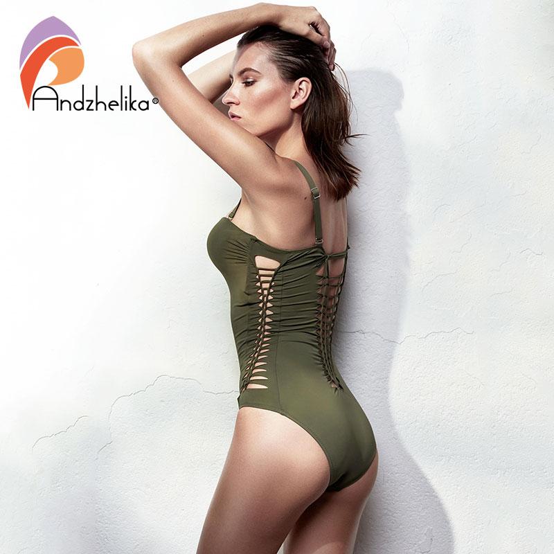 Image 2 - Andzhelika Bandeau Swimear 2018 One Piece Suits Sexy Bodysuit Swimsuit Bandage Halter Bathing Suit Solid Crochet Bathing Suitssuit sexysuit suitsuit one piece -