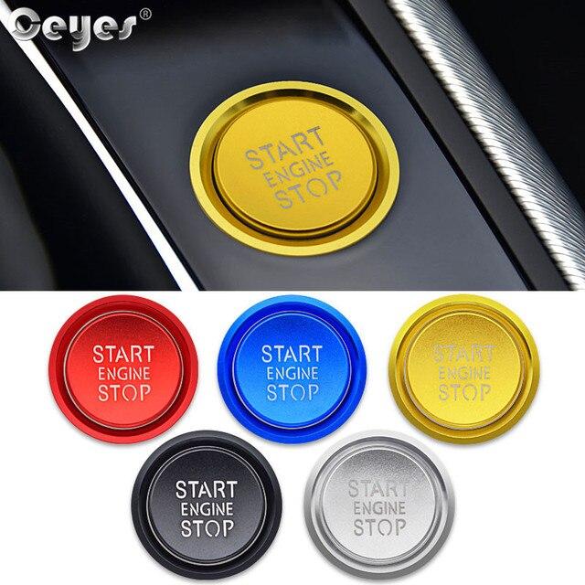 Ceeyes pegatinas de diseño de complemento para el coche, funda con botón de arranque y parada de motor para Audi A6 B8 A6L Q5 8R A4 C7 B9 A7 BT 2018