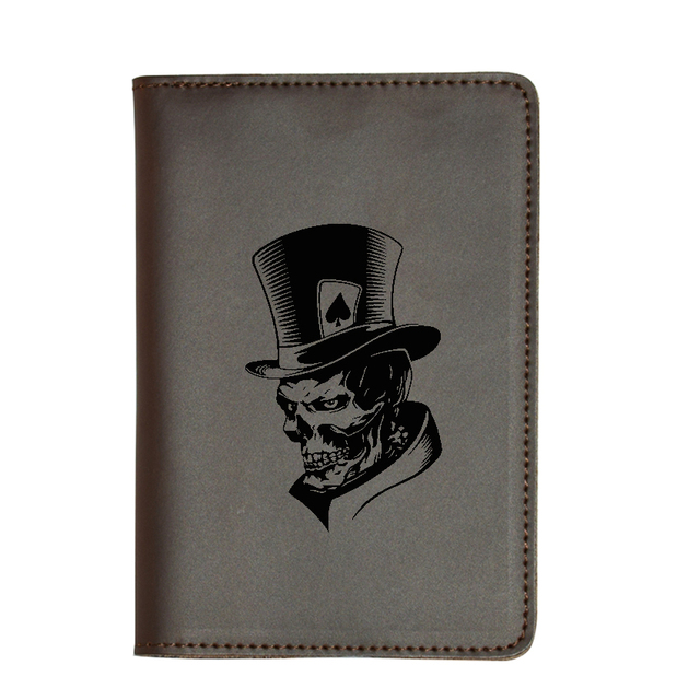 US $11 17 49% OFF|Cool Joker Skeleton Skull Passport Cover Simple Card  Holders Genuine Leather Passport Holders Custom Name Travel Card Wallets  -in