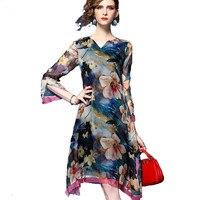 100% Real Silk Dress Women New Spring Summer Fashion Beach Dress Slim Retro Print Ice Silk High quality Elegant V neck Dresses