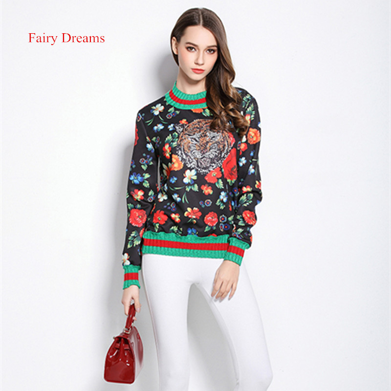 Fairy Dreams Women Free Size Clothing Long Sleeve Tiger Flowers Pattern T shirt 2017 New Arrival Spring Style Fashion Tee