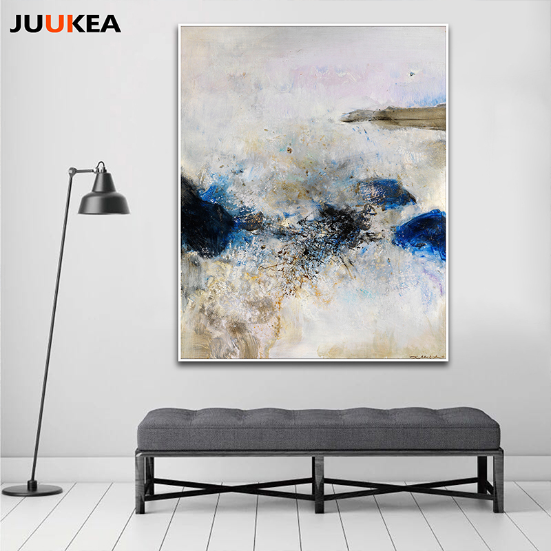 Blue abstract chic canvas art print painting poster home decor painting calligraphy wall - Home decor promo code paint ...