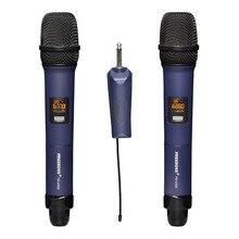 FREEBOSS FB U322 2 Way wielu częstotliwości metalowy ręczny nadajnik kamera mikrofon Karaoke Karaoke mikrofon bezprzewodowy