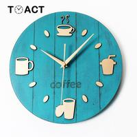 Vintage Wood Coffee Cup Wall Clock Cafe Bar Decoration Wall Clocks Pastoral Leisure Creative Cutlery Watch On The Wall