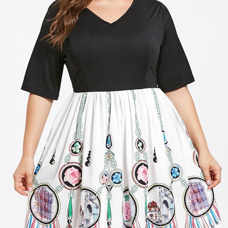 Courte Robes Hiver Grande Vêtements 4xl Imprimée Lâche 5xl Plus As 2019 Automne Picture Taille Femmes Tailles Robe 4wxfr4AqP
