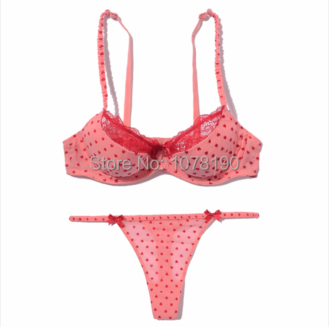 Lovely pink underwear lace thin thick cup   bra   &   brief     sets   thong women gather cup   bra     sets