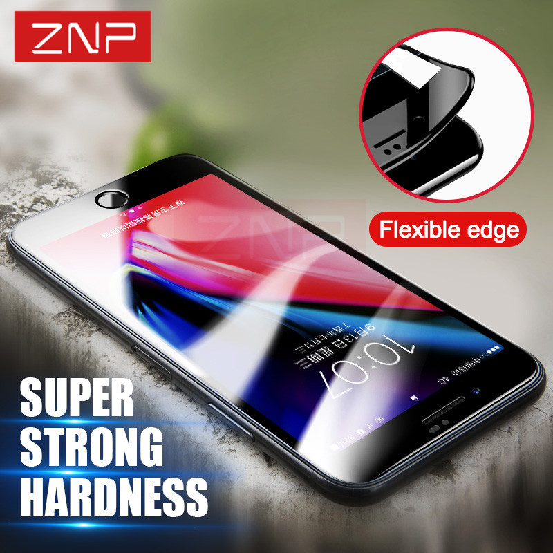 ZNP 3D Soft Edge Tempered Glass For iPhone 8 8 Plus 3D Curved Full Cover Carbon Fiber Screen Protector For iPhone 8 Plus 8 Glass