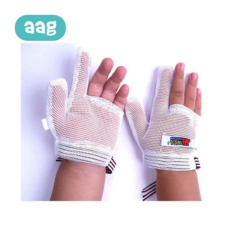 AAG Baby Anti-eating Hand Gloves Breathable Net Newborn Teething Mittens Baby Anti Scratching Protection Face Gloves Gift *