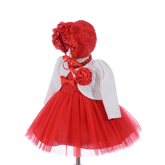 2dcc69de72a8 Baby Girl Dress Red Special Occasion Dress with Bonnet Hat Bolero ...