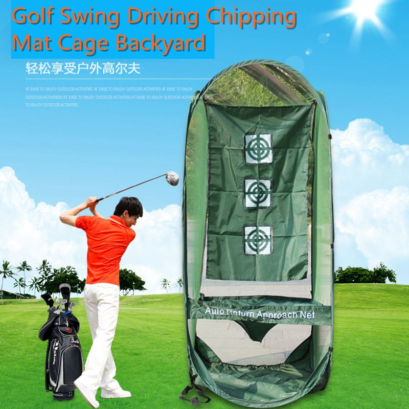 Golf Swing Exercises Golf Practice Net Cage Mat Training Aid. Golf Swing Driving Chipping Mat Cage Backyard Training Aid Trainer
