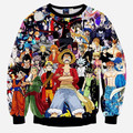 Estilo Harajuku japonesa Anime One Piece Monkey D Luffy / Pokemon / Naruto / Dragon ball Goku 3d camisola Hoodies capuz Outerwear
