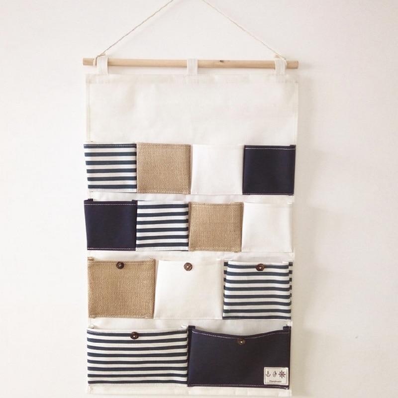 Katoenen linnen Hangende muurorganizer Deur hangende zakken Badkamer - Home opslag en organisatie - Foto 2