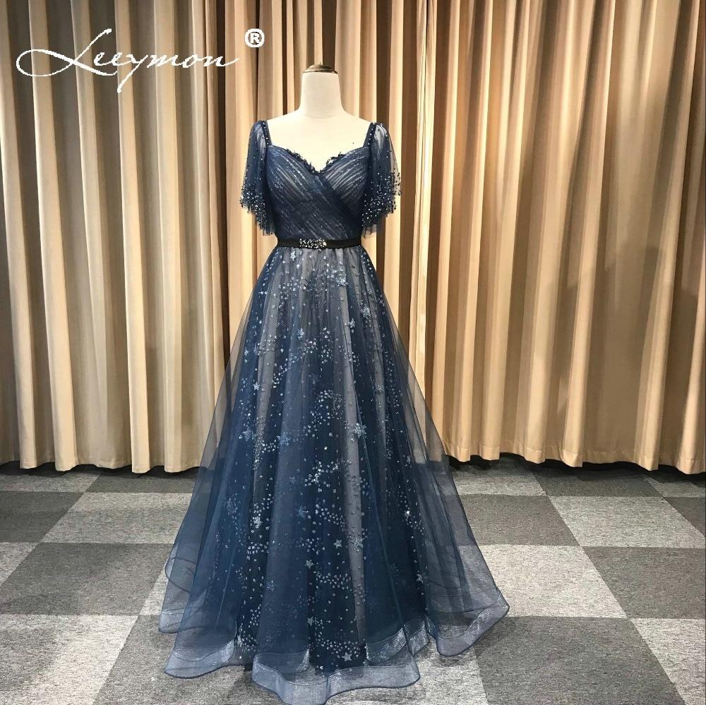 Leeymon 2019 robes De bal paillettes dentelle robe De soirée a-ligne Vestido De Festa longue robe De bal vraies photos