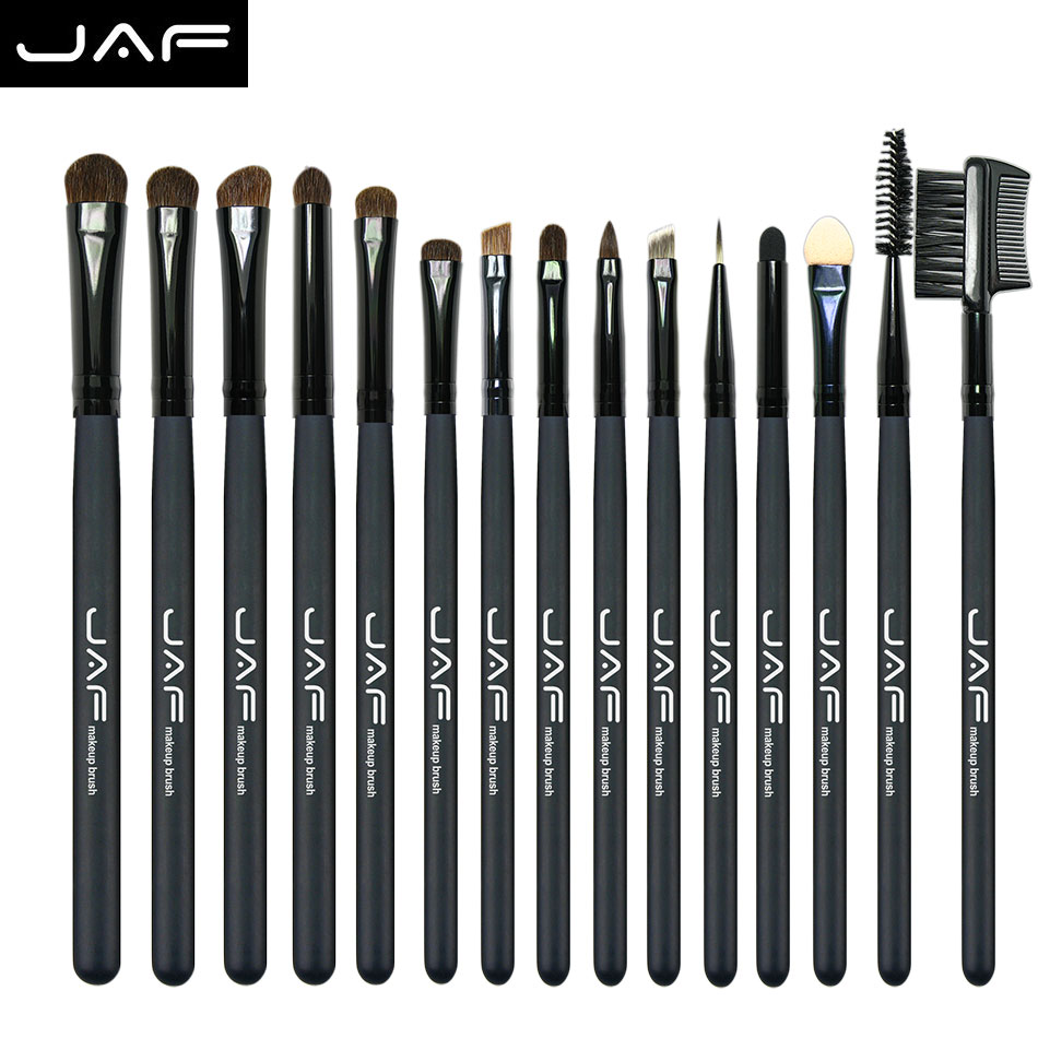 JAF 15 Pcs Pony Hair Eye Shadow Eyebrow Brush Brand Makeup Brushes Professional Cosmetic Kits Make Up Brush Set maquiagem JE15P shoushoulang w211 professional makeup brush squirrel hair eye shadow brush ebony handle cosmetic tool eye shader make up brush