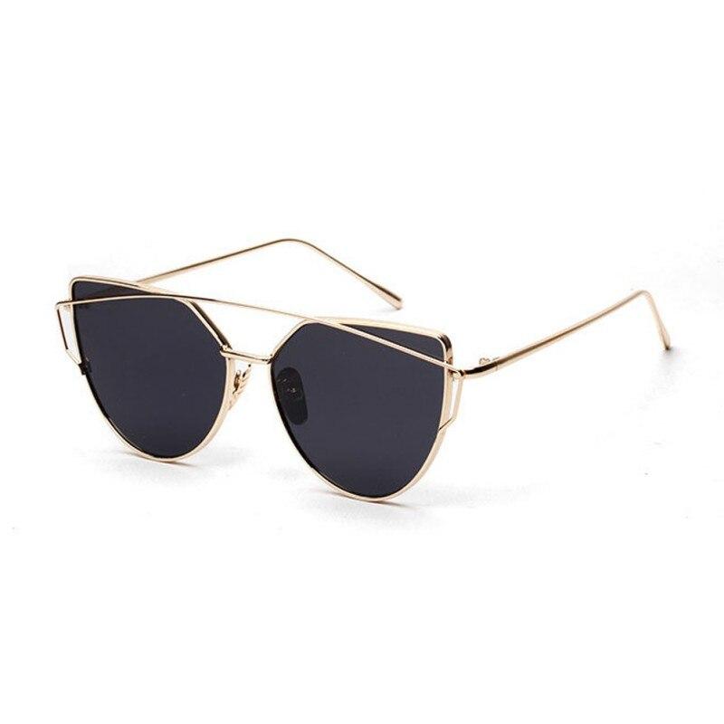 2017 Vintahe Women Brand Designer Fashion Cat Eye Sunglasses Retro Rose Gold Mirror Glasses For Female
