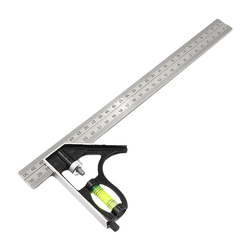 12 Inch Adjustable Combination Square Angle Ruler 45 / 90 Degree With Bubble Level Multifunctional Gauge Measuring Tools 300mm