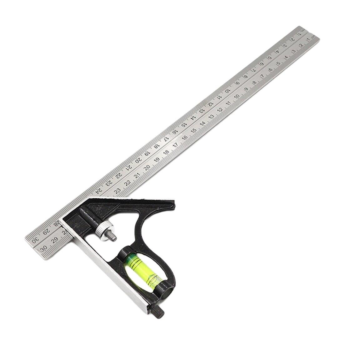 12 pulgadas combinación ajustable Ángulo Cuadrado regla 45 / 90 grados con nivel de burbuja multifuncional de herramientas de medición 300mm