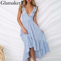 Glamaker Ruffle lace up blue sexy dress Women backless high waist turn down maxi dress Beach winter dress 2018 vestidos sundress
