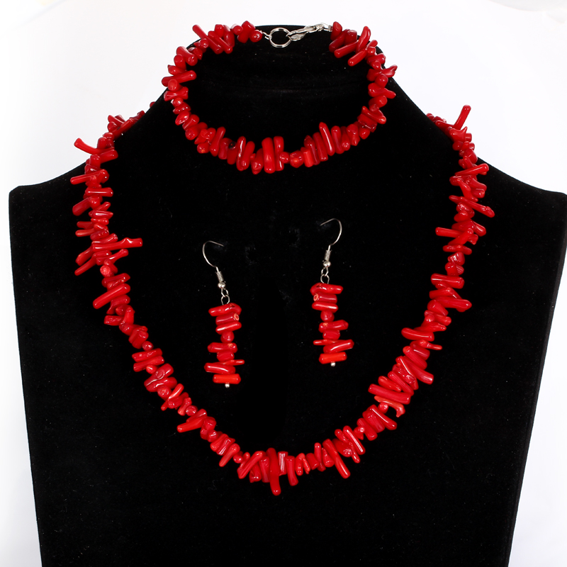 Personality Red Coral Design Bridal Jewelry Sets Hot Sale