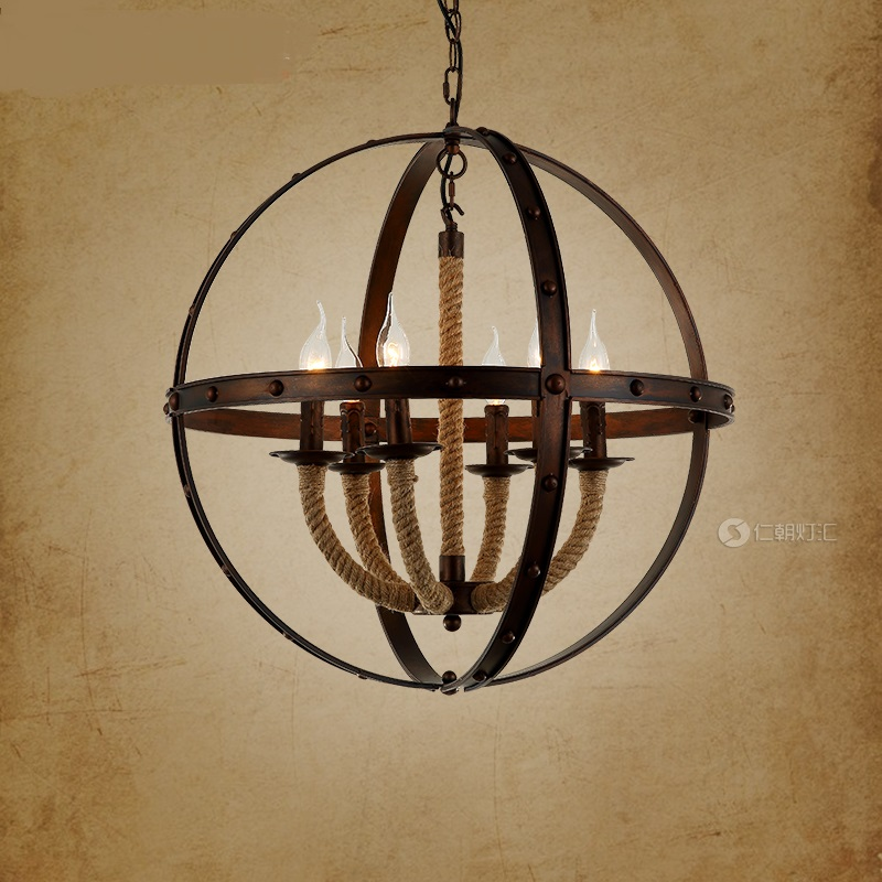 American country Vintage Pendant Lights industrial loft creative restaurant bar cafe bar iron rope lamp LU american country cafe tea house globe earth lamp round ball iron lounge bar casual pendant lights restaurant bar counter