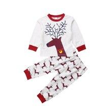 New 2018 Christmas Toddler Kids Baby Girl Boy Cartoon Deer Tops Long Sleeve T shirt Pants 2Pcs Outfit Pajamas Set 2019 цена