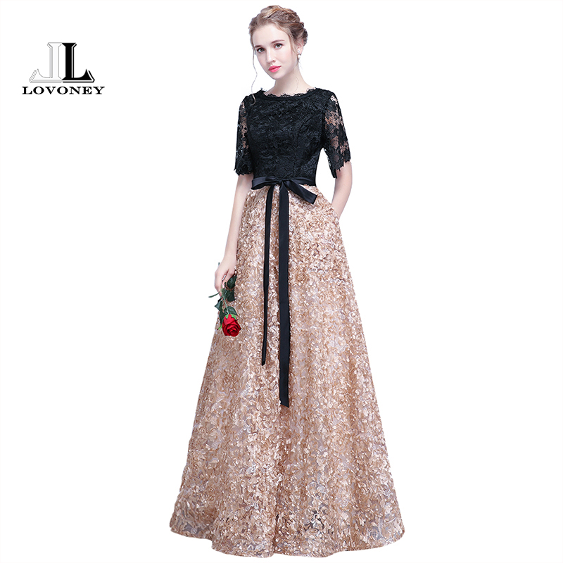LOVONEY YS409 Floor Length Prom Dresses Long Vintage A Line O Neck Half Sleeves Evening Dress Women Occasion Party Dresses Gown