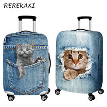 "REREKAXI Travel Suitcase Luggage Covers Cute Cat Baggage Protection Case Cover For 18-32"" Trolley Trunk Dustproof Elastic Shell(China)"