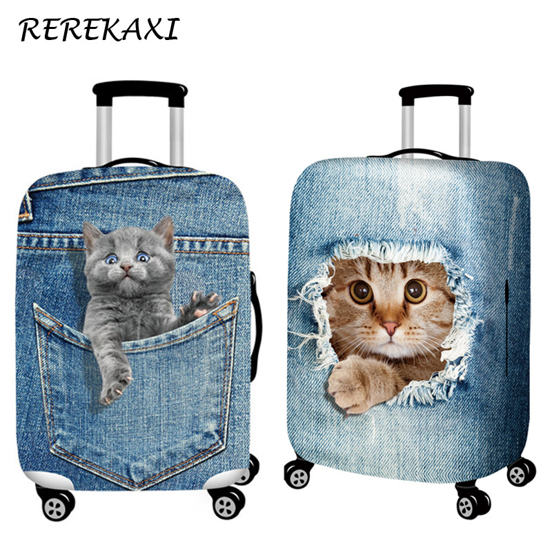 Suitcase Elastic Case Cover 3D Cat Luggage Protection Covers 18-32Inch Baggage Trolley Trunk Dustproof Cover Travel Accessories