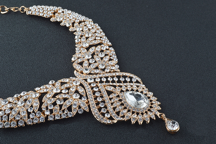 Statement India style Necklace earrings sets Bridal wedding Party Necklace Water Drop Type Golden Plated Crystal Jewelry Sets 15