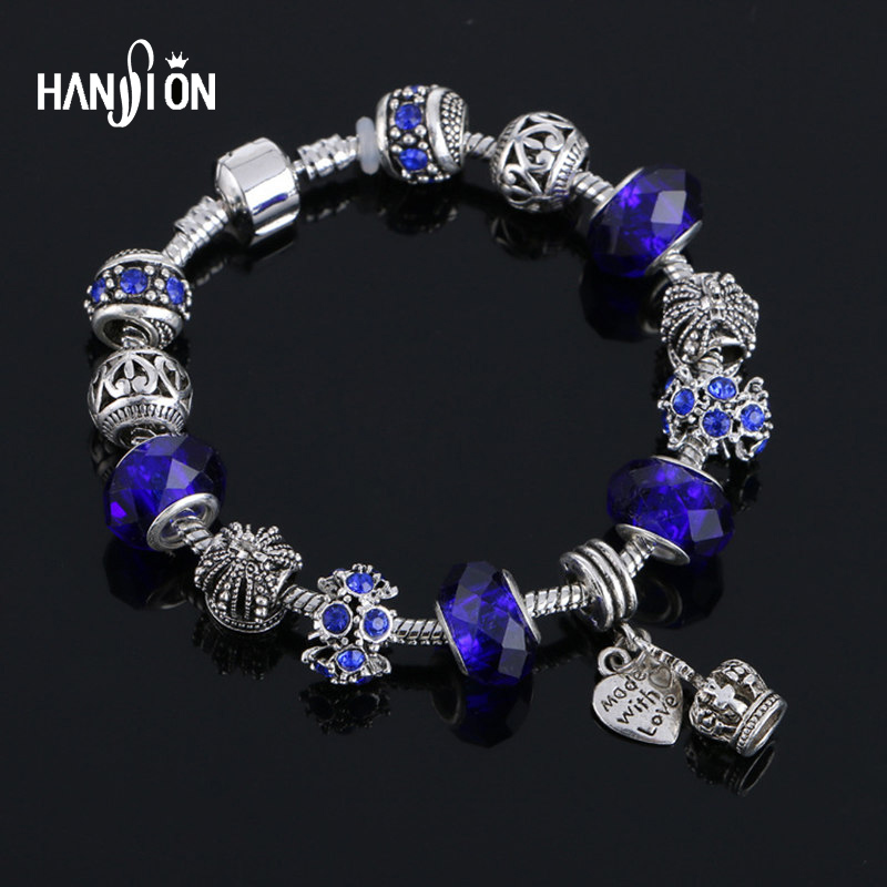 XiongHang Hot Charms Armbånd Kvinner Forgylt Snake Chain Crown Anheng Crystal Ball Friendship Fit Armbånd