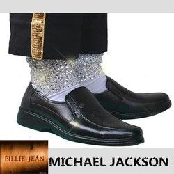 Rare MJ Michael Jackson Classic Billie Jean di Cristallo Handmade 100% Copertura Del Piede Baggy CALZINI CON CRISTALLI In 1980 S