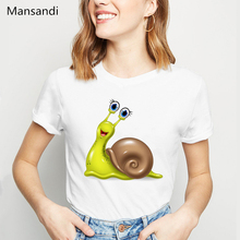 New summer Fashion Cute Snail T-Shirt Women Cartoon print tshirt funny t shirts Lovely Animal Design Tops tee shirt femme