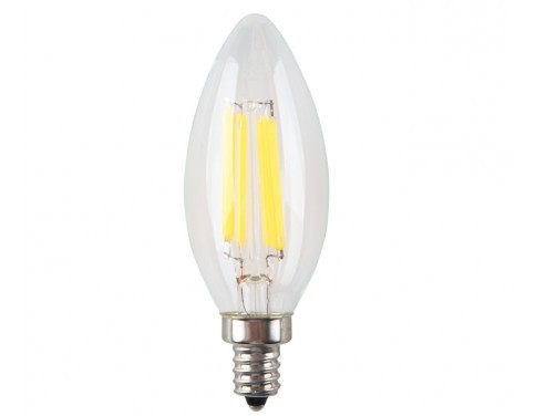 6-Pack 6W Non Dimmable LED Filament Candle Light Bulb,2700K Warm White 600LM,E12 Candelabra Base Lamp C35 Bullet Top,60W