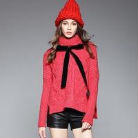 Herfst Winter Fashion Vrouwen Coltrui Batwing Mouw Kerst Rode Truien Ontwerp Bloem Gehaakte Dikke Warme Gebreide Pullover