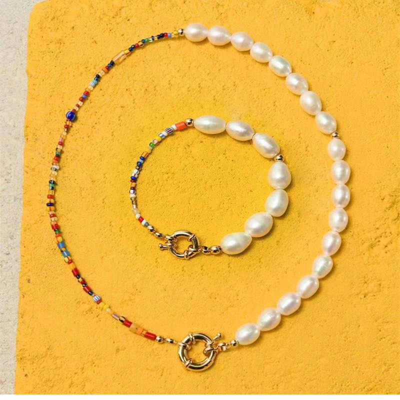 Fashion Real Pearl Jewelry Set Bohemian Multi-Color Glass Beads Freshwater Pearl Necklace and Bracelet Set for Women Party