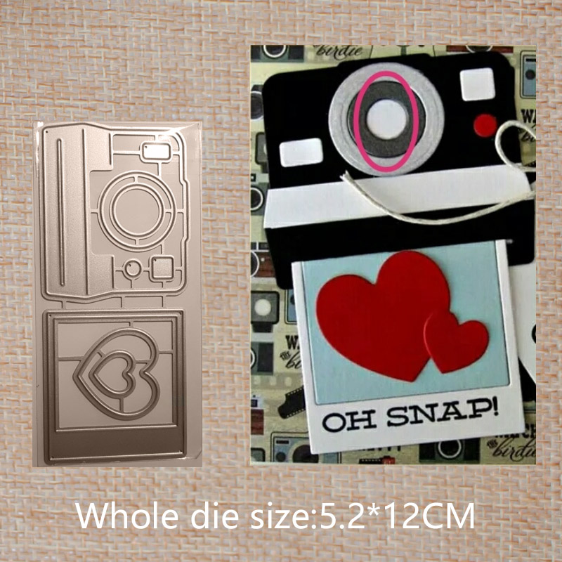 Love camera  Metal Cutting Dies for Making Craft Photo Album Decoration greeting card 52*120 mm