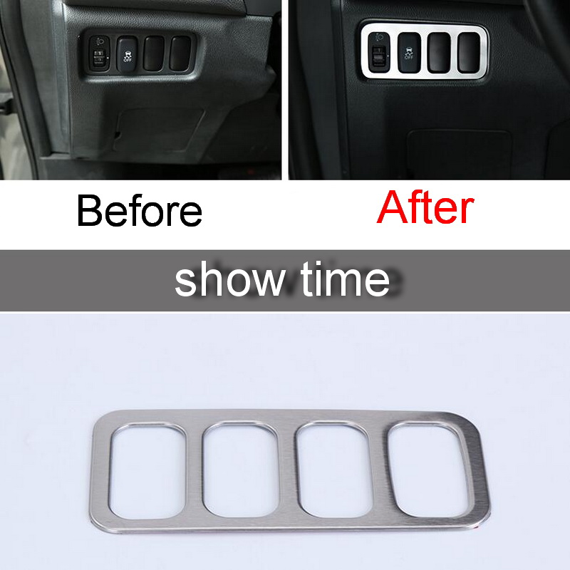 1 PCS Car NEW Stainless Steel Headlight Control Button Light Box Cover Case Stickers for Mitsubishi