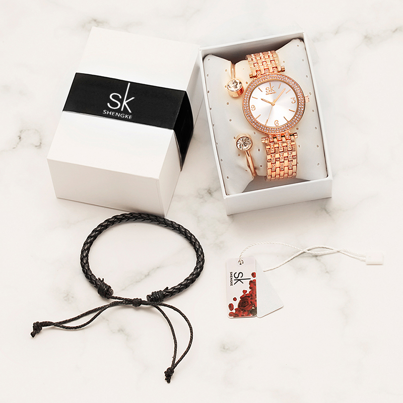 Image 5 - Shengke Watches Women Brand Luxury Quartz Watch Set Ladies Clock Relogio Feminino 2019 Watches with Bracelet Women's Day Gift-in Women's Watches from Watches
